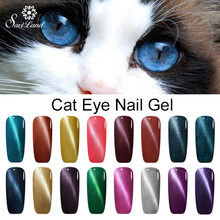 Saviland 10ml Free Shipping Magnet 3D Semi Permanent Cat Eye Nail Gel Lacquer with Sparkles Uv Led Lamp Shimmer Polish(China)