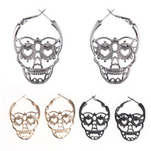 Gold Black Rhodium Color Punk Hollow Sugar Skull Skeleton Hoop Earrings  Party Costume Jewelry 1606f7b93b77