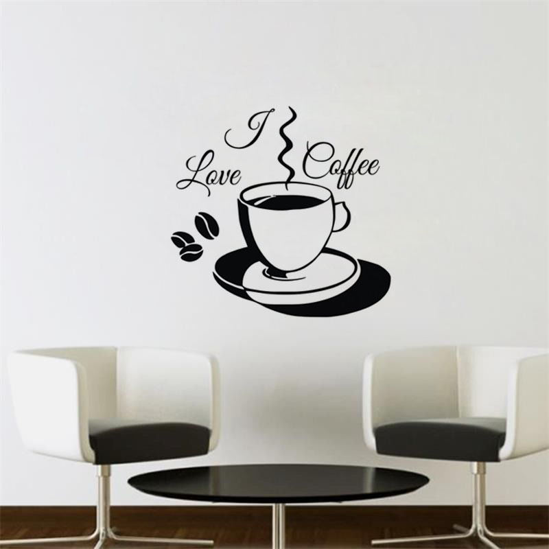 I Love Coffee Wall Stickers Decoration For Home Vinyl Art Wall Decals  Kitchen Office Cafe Wall
