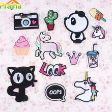 1PCS Cactus Camera Unicorn Patch Iron On Food Cartoon Patches Rainbow Cat Cheap Embroidered Cute Sewing Patches For Clothes Kids(China)