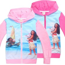 Baby Girl's Spring & Autumn zip sport hoodies Pattern moana vaiana kid cartoon coat Christmas jacket for girls children clothing(China)