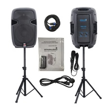 "STARAUDIO 1 Set  12"" 2000W  Pro PA DJ Stage Power Active  Bluetooth  Speakers with  2 Stands 1 Wired Mic SSD-12A"