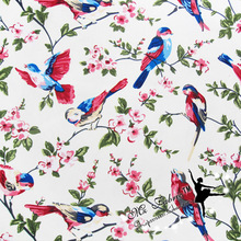Fine Wide 150cm Flower Bird Fabric Canvas Cotton Fabric Quilting Home Cloth Patchwork Sewing Diy Table Cloth Bag Pants Material(China)
