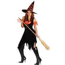 2017 New Women Lady Black Orange Witch Cosplay Costume Adults Halloween Carnival Performance Costumes Fancy Dress Party Decor