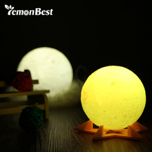 LemonBest Novelty 3D Full Moon Light Night Rechargeable Print Simple Personality Lunar Desk Lamp Christmas Decoration Dia 8/10cm(China)