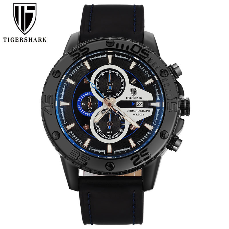 2017 TIGERSHARK china brand luminous bluedial watches men sport chronograph 30M waterproof date genuine leather wristwatches<br><br>Aliexpress