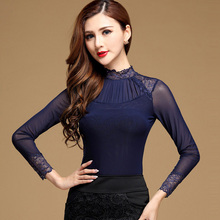 Plus size Sexy Lace tops Fashion Casual Long sleeve Mesh patchwork women tops Elegant Slim Mesh t shirt women Autumn blusas