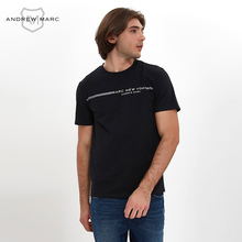 ANDREWAMRC 2017 Summer Brand Men T-shirt O-neck 100% Cotton Breathable Slim printed Man Shirts TM7GT074