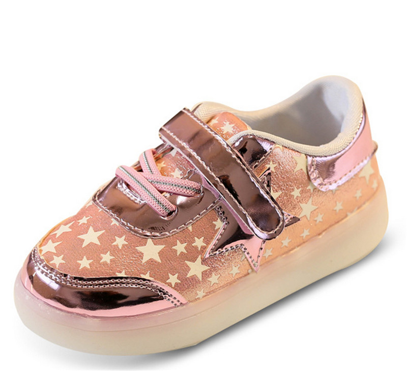 Children Shoes With Light Up 17 Star Printed Unisex Led Light Kids Baby Girls Boys luminate Sneakers Size 21-30 9