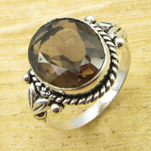 Rare Smoky Quartzs Ring Size US 6.5 !  Silver Plated Jewelry ONLINE STORE