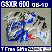 Free customize fairing kit for suzuki injection gsxr 600 750 08 09 10 white blue black fairings gsxr750 2008 2009 2010 nm147