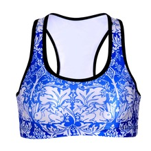 0054 Summer Sexy Girl Women blue and white porcelain 3D Prints Padded Push Up Vest Top Chest Workout Tights Bras(China)