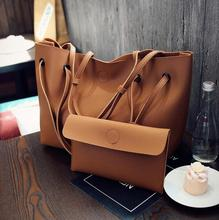 new fashion plain big black tote handbag set of 2 women pink shopping bag lady grey  brown clutch