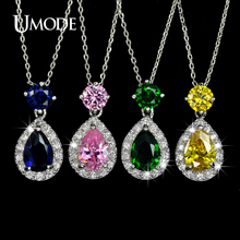 UMODE 4 COLOR CHOICE Cute Jelly Drop Cubic Zirconia Pendant Necklace UN0033(China)