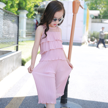 2017 new Korean version of the summer girls in the fashion trend of pleated cake layer Chiffon Chiffon leg pants two suits