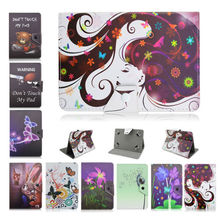 Universal PU Leather Print Stand Protector Cover Case Skin for Ainol Novo7 Novo 7 Eos/Dragon/Grace 7 inch tablet PC+flim D492A(China)