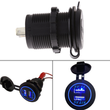 12V-24V 3 colors  Waterproof Car Charger Universal Dual USB Car Charger Cigarette Lighter LED digital display car-styling