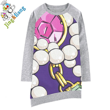 girls dress Long sleeve Girl clothing pearl printing Fashion Kids Baby Dresses bibs Print Children Dress Designer Kids Clothes(China)