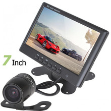 Hot HD 800 x 480 Super Thin 7 Inch Color TFT LCD 2 Channels Video Input Car Rear View Monitor + E306 18mm Color CMOS/CCD Camera(China)
