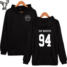 BTS Bangtang Boys Hoodies Women Brand Zipper RAP MONSTER 94 Cotton Winter Jacket Women Brand Hoodies Black Casual Clothing Plus(China)