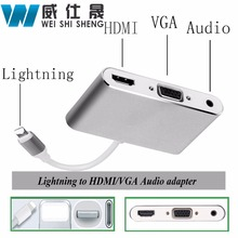 HDMI VGA Audio Headpone Adapter Play Music + Charging Cable Adapter for Iphone Ipad Support iOS 10(China)