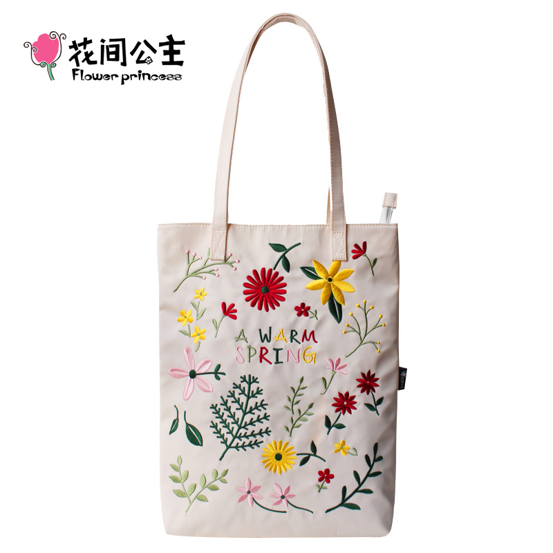 Flower Princess Women Embroidery Shoulder Bag Girls Nylon Floral Large Capacity Tote Bags Ladies Black Handbag Hand Bags bolsa <br>