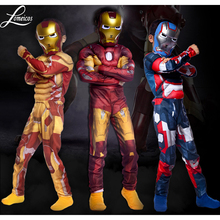 Chirldren's The Avengers Iron Man Muscle Costume Suit Cosplay For Boy's Halloween Masquerade Party Size S-L