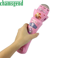 CHAMSGEND Best seller drop ship New Wireless Girls boys LED Microphone Mic Karaoke Singing Kids Funny Gift Music Toy Pink  S7
