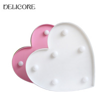 DELICORE New Romantic Heart Night Lamps 3D Marquee Letter LED Night Light Home Indoor Bedroom Decoration Kids Gifts S011(China)