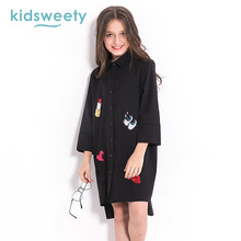 Kidsweety Black Girls Dress 2017 Cotton Heart Shape Dress Knee Length Long Sleeve Letter Printed Button Children Dress Clothing(China)