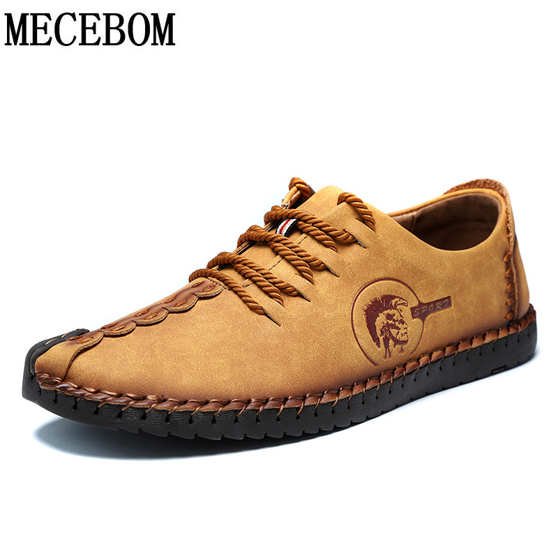 Mens leisure leather shoes Quality comfortable lace-up flat men casual shoes rubber soles moccasins size 39-44 L601M<br>
