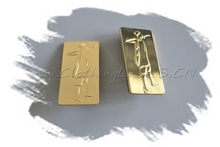 Custom metal tag labels for clothing, zinc alloy material, for cap/hat, bag accessories etc., gold color, shiny surface