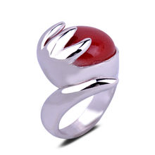 Personality Hand Shape China Red Jade Ring White Gold Plated Ring Women Ring