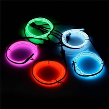 5PCS 1M Glow Rope Tube Neon EL Light Wire Cable LED Strip Light Battery Powered Multicolor DIY For Car Halloween Christmas DC3V(China)