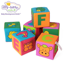 Itty-Bitty 6PCS Baby Rattle Large Building Stack Game Soft Blocks Educational Baby Toys for Children Magic Cubes Gift Sort