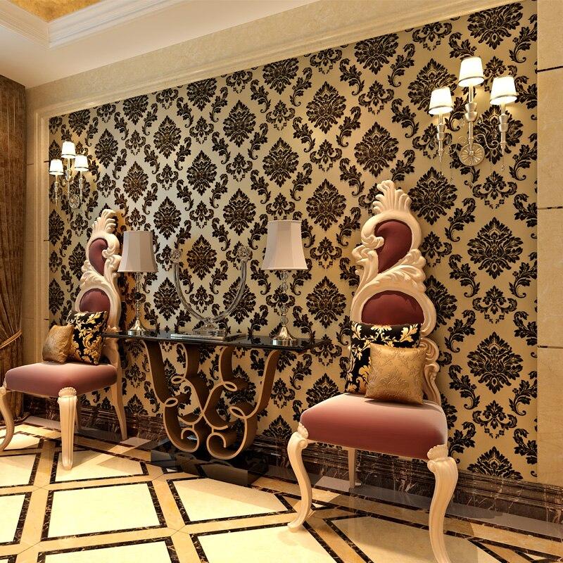 European Style Black 3D Damascus Flower Leaves Wallpaper for Living Room TV Wall Decor Non-woven Flocking Damask Wall Paper Roll<br>