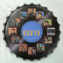 Rock Band Star Elvis beer sign 40 cm vintage home decor round tin sign crafts for bar coffee home decoration LY87315
