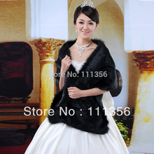 Wedding Shrug Faux Fur Wrap Bridal Shawl Bride Jacket Wedding Accessories Black Stole New Style Cape pj-9