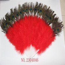 Wholesale 1 natural peacock eye with red feathers made of 26 fan DIY program party decorating accessories