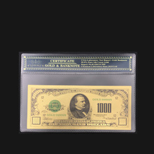 Best Products For America 24K Gold Foil Fake Paper Money US 1000 Dollars Banknotes With Plastic Frame For Collection(China)