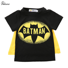 2017 Brand Pudcoco Baby Boys T Shirt Superman Batman T Shirt Kids 3D Cartoon Short Sleeves Children T-Shirt Nova Boys Clothes