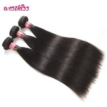 West Kiss Hair Natural Black Peruvian Straight Hair Bundles 12-30 Inch 100% Human Hair Weaving Non-Remy Hair Extensions