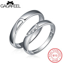 GAGAFEEL Wedding Jewelry real 925 sterling silver gem crystal zircon couple lovers rings China Gold Brand Fine for men women(China)