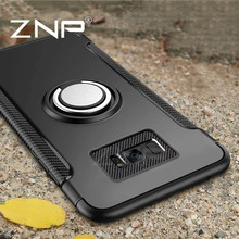 ZNP Luxury Shockproof Case For Samsung Galaxy S7 Edge S8 Plus Note 8 Metal Ring Holder Combo Phone Cover For Samsung S7 S8 case