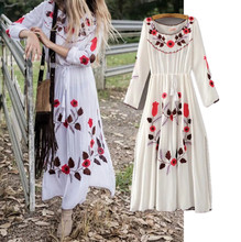 Freeshipping vestidos ukraine European and American wind couture fashion folk embroidery loose even tassel people cotton dress