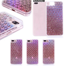 ANSHOW Fish Scales Square Line Chromed Liquid Glitter Case For iphone 7 Plus 6 6S Quicksand Hard Plastic Clear Cover TPU 50PCS(China)