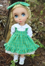 "[RDY018]2016 Free Shipping 16"" Disyne doll Clothes # Green Gird Dress and Hair Bow Set for 16 inch doll for retail"