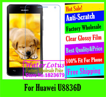Wholesale Clear Glossy mobile protective film to phone screen protector de pantalla projector For Huawei U8836D