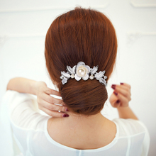 New Arrival Wedding Hair Ornaments Big Imitated Pearl Leaf Hair Clips Comb Hair Accessories