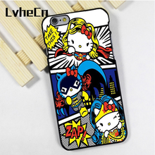 LvheCn phone case cover fit for iPhone 4 4s 5 5s 5c SE 6 6s 7 8 plus X ipod touch 4 5 6 Hello Kitty Superhero Comic(China)
